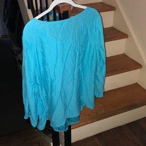 Talbots Tops - Talbots turquoise blue 100%  percent silk blouse